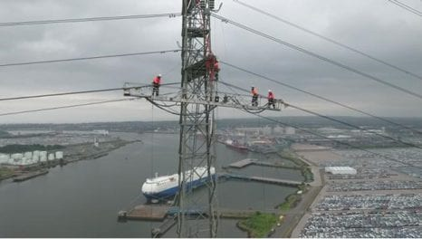 National Grid jacks up power line over River Tyne