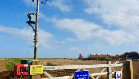 Overhead power lines removed at Norfolk coastal spot